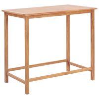 vidaXL Mesa de bar de jardín de madera maciza de teca 120x65x110 cm