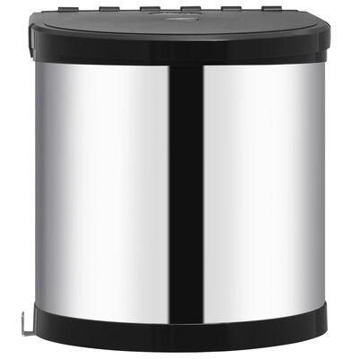 vidaXL Papelera de cocina empotrada acero inoxidable 8 L