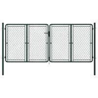 vidaXL Puerta de jardín de acero verde 300x125 cm