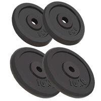 vidaXL Discos de pesas hierro fundido 4 unidades 2x10 kg+2x5 kg