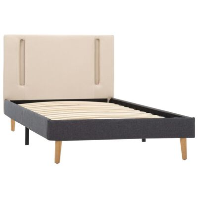 vidaXL Estructura cama con LED tela color crema gris oscuro 100x200 cm