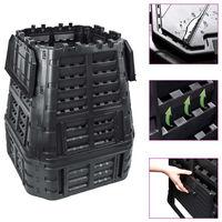 vidaXL Compostador de jardín negro 93,3x93,3x113 cm 740 L