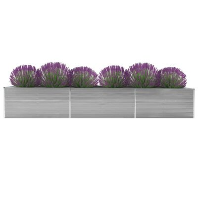 vidaXL Arriate de jardín de acero galvanizado gris 480x80x45 cm