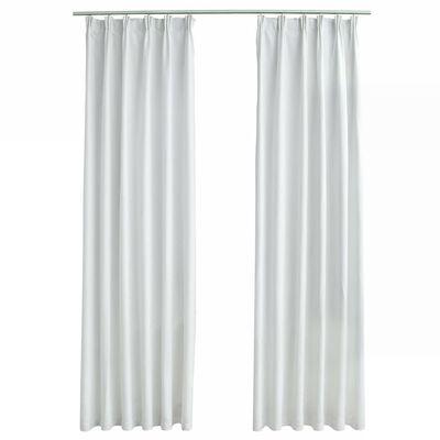 vidaXL Cortinas opacas con ganchos 2 piezas blanco crudo 140x225 cm
