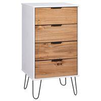 vidaXL Cajonera de madera de pino maciza clara y blanca 45x39,5x90,3cm