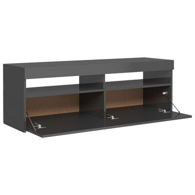 vidaXL Mueble para TV con luces LED gris brillante 120x35x40 cm