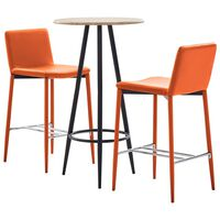 vidaXL Set mesa alta y taburetes de bar 3 pzas cuero sintético naranja