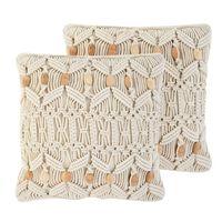 Conjunto de 2 cojines decorativos beige 45x45 cm NICAEA