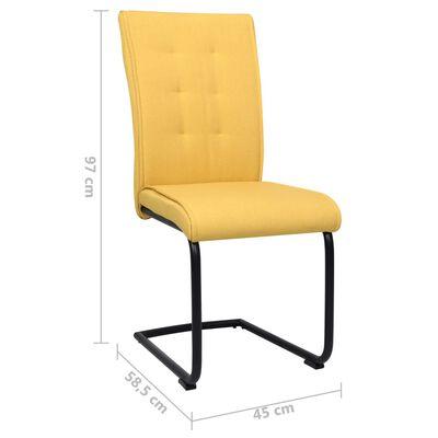 vidaXL Sillas de comedor voladizas 2 unidades tela amarillo mostaza