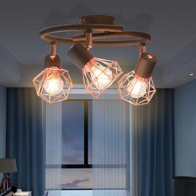 vidaXL Lámpara de techo con 3 focos E14 negra y cobre