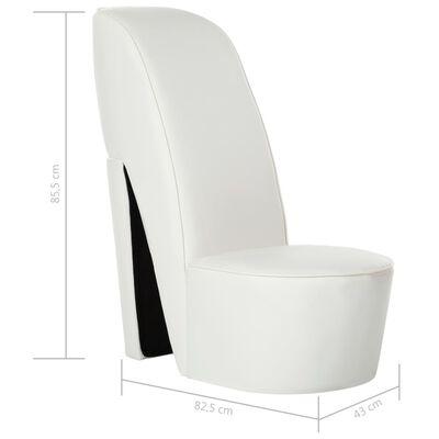 vidaXL Sillón con forma de zapato de tacón cuero sintético blanco