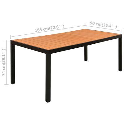 vidaXL Juego de comedor para jardín 7 piezas negro y marrón