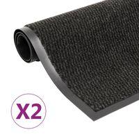 vidaXL Alfombras de entrada rectangulares de nudo 2 uds negro 40x60 cm