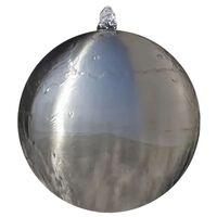vidaXL Fuente cascada esfera con LEDs de jardín acero inoxidable 30 cm