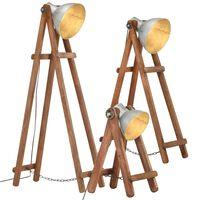 vidaXL Lámpara de pie 3 pzas madera maciza de mango plateada E27