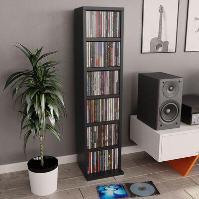 vidaXL Estantería para CDs de aglomerado negro 21x20x88 cm