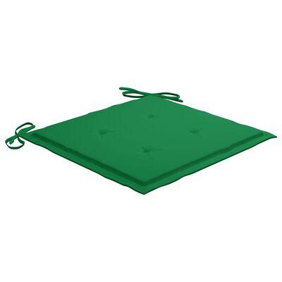vidaXL Sillas de jardín 2 uds con cojines madera maciza de teca verde