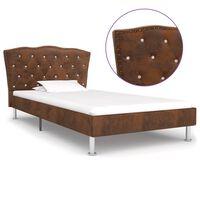 vidaXL Estructura de cama de piel de ante artificial marrón 90x200 cm