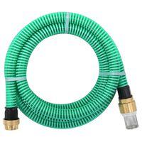 vidaXL Manguera de succión con conectores de latón 25 m 25 mm verde