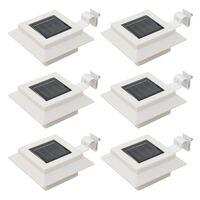 vidaXL Lámparas solares LED de exterior 6 uds cuadradas 12 cm blanco