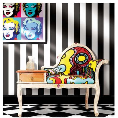 Urban Friends & Coffee Papel pintado rayas negro y blanco
