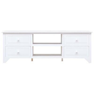vidaXL Mueble para TV madera Paulownia blanco 115x30x40 cm