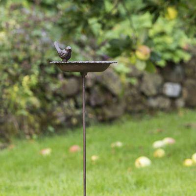 HI Bebedero/bañera para pájaros de hierro fundido marrón