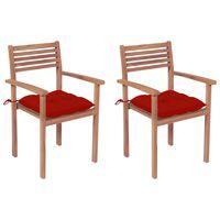 vidaXL Sillas de jardín 2 uds madera maciza de teca con cojines rojos