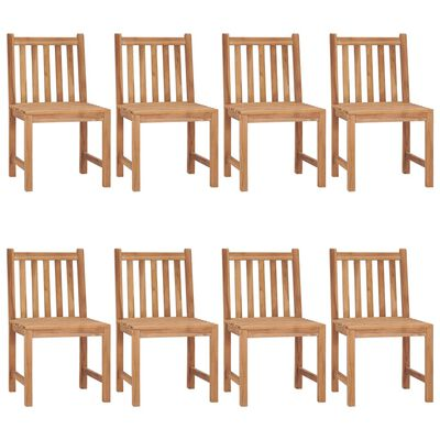 vidaXL Sillas de jardín 8 unidades madera maciza de teca con cojines