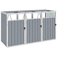vidaXL Cobertizo triple contenedor de basura acero gris 213x81x121 cm