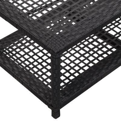 vidaXL Banco zapatero de ratán sintético negro 80x40x30 cm