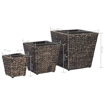 vidaXL Conjunto de arriates 3 piezas jacinto de agua marrón