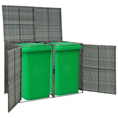 vidaXL Cobertizo doble para contenedor ratán PE gris 148x77x111 cm