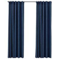 vidaXL Cortinas opacas con ganchos look de lino 2 pzas azul 140x225 cm