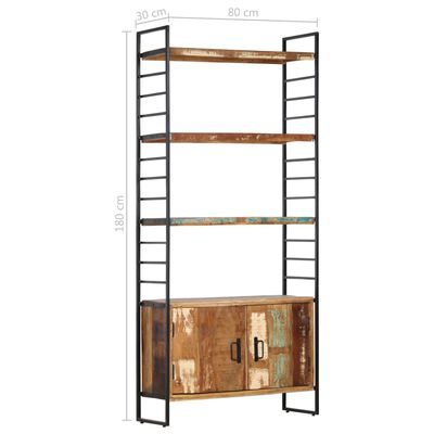 vidaXL Estantería de 4 niveles madera maciza reciclada 80x30x180 cm