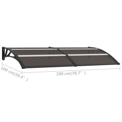 vidaXL Marquesina para puerta PC negro 200x100 cm