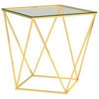 vidaXL Mesa de centro acero inoxidable dorado transparente 50x50x55 cm
