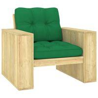 vidaXL Silla de jardín y cojines verde madera pino impregnada