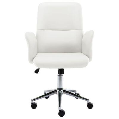 vidaXL Silla de oficina de cuero sintético blanco
