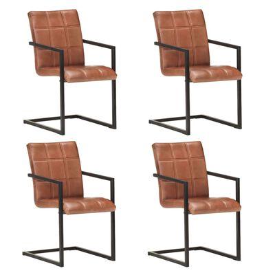 vidaXL Sillas voladizas de comedor 4 unidades cuero auténtico marrón