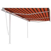 vidaXL Toldo manual retráctil con postes naranja y marrón 6x3 m