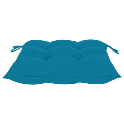 vidaXL Sillas de jardín 2 uds madera de teca con cojines azul claro