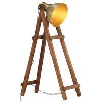 vidaXL Lámpara de pie madera maciza de mango latón E27