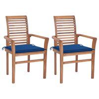 vidaXL Sillas de comedor 2 uds madera maciza teca y cojines azul royal