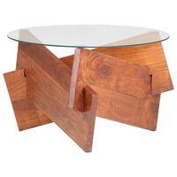 vidaXL Mesa de centro de madera maciza de acacia 66 cm
