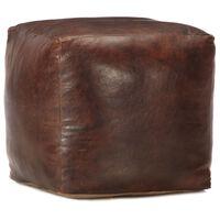 vidaXL Puf marrón oscuro 40x40x40 cm cuero genuino de cabra