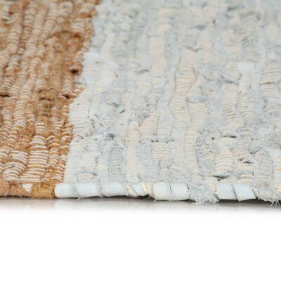 vidaXL Alfombra chindi tejida a mano cuero 190x280cm gris claro/marrón