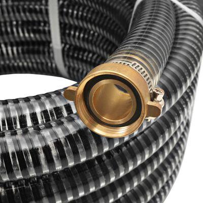 vidaXL Manguera de succión con conectores de latón 15 m 25 mm negra