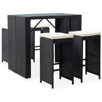 vidaXL Mesa y sillas de bar jardín 5 pzas ratán sintético vidrio negro