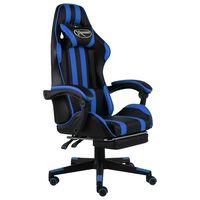 vidaXL Silla gaming con reposapiés cuero sintético negro y azul